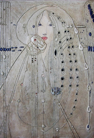 Miranda    15 ins x 23 ins    acrylic, glass beads, black lipped pearl, quartz, moonstone, mother of pearl