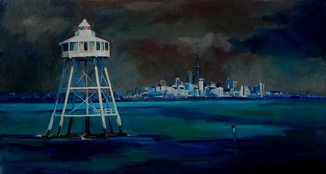 Auckland Harbour oil on canvas 30 ins x 16 ins