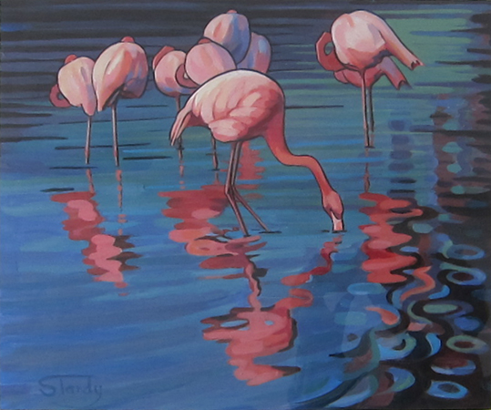Flamingos acrylic on card 15 ins x 13 ins