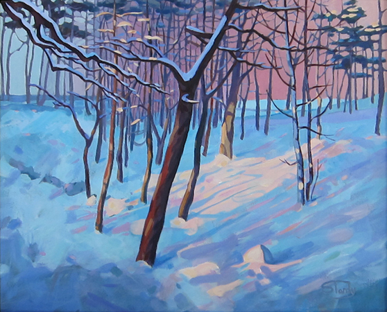 Winter Woodland acrylic on canvas 19 ins x 16 ins