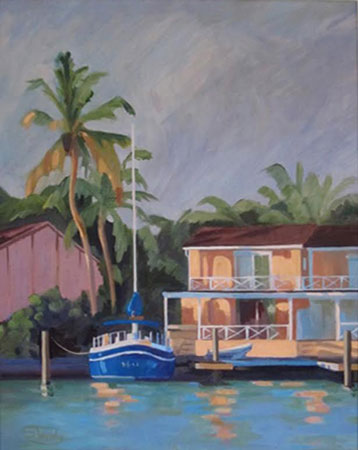 Caribbean Evening oil on canvas 16 ins x 19 ins