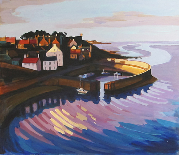 Crail Harbour - acrylic on card - 12 ins x 10 ins