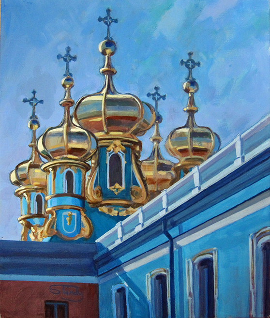 Catherine Palace Domes - acrylic on canvas - 24ins x 24ins