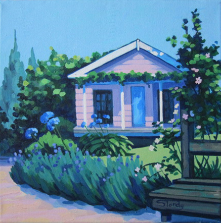 Devonport Cottage, Auckland - acrylic on canvas - 12 ins x 12 ins