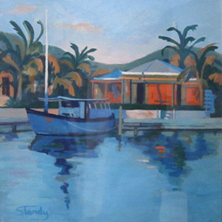 Dusk in Antigua Oil on Canvas 12 ins x 12 ins