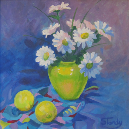 Daisies and lemons - acrylic on canvas - 12 inches x 12 inches