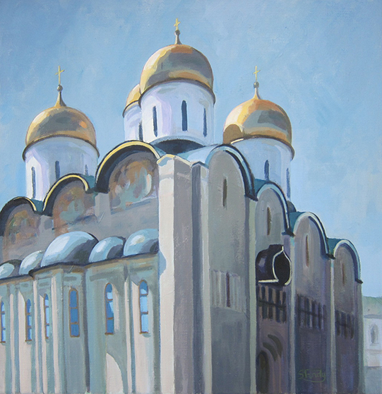 Kremlin Cathedral - acrylic on canvas - 16 ins x 16 ins