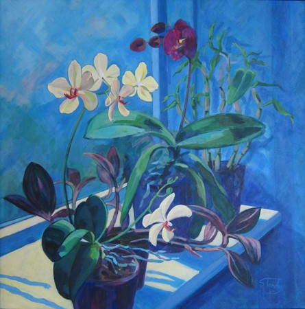 Orchids on the Windowsill – acrylic on canvas – 24 inches x 24 inches
