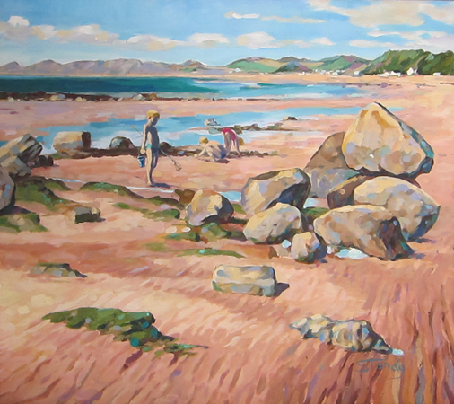 On Seamill Beach oil on board 19 ins x 17 ins