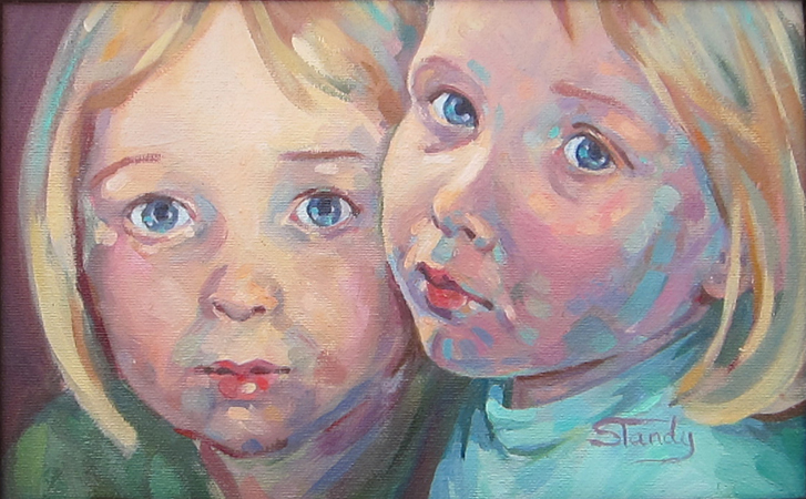 Two of a Kind oil on board 11 ins x 7 ins